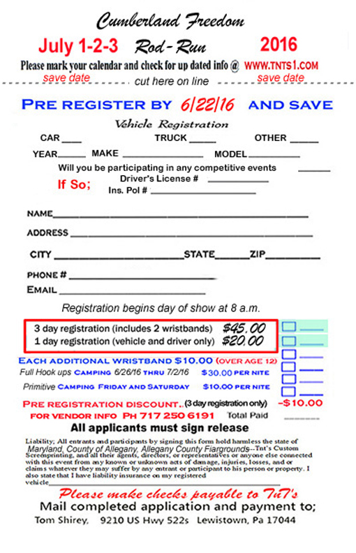2016 Cumberland Freedom Rod Run July 1-2-3 2016 Registration Form